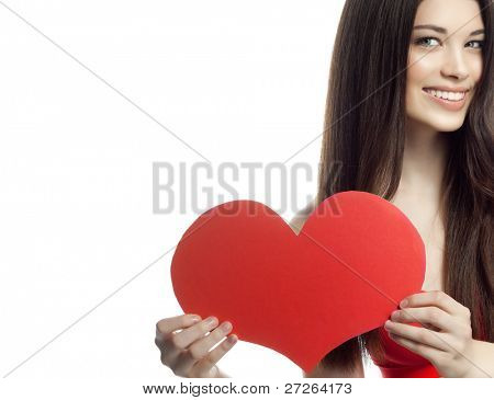 attractive woman on white background with heart