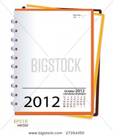 Simple 2012 calendar notebook, October. All elements are layered separately in vector file. Easy editable.