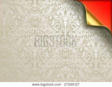 Diseño de fondo de pantalla de vector con la esquina doblada de oro. Bajo los floreos plateado grisáceos se aprecia un