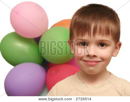 Smile Of The Lovely Boy And Balloons
