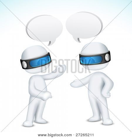illustration of 3d man in vector fully scalable talking with each other with speech bubble