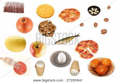 Different products under the white background
