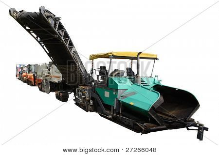asphalt spreading machines under the white background