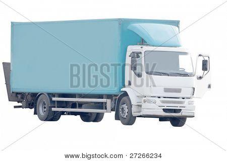 Truck under the white background