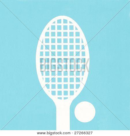 Zeichen der Tennis unter den blauen Hintergrund