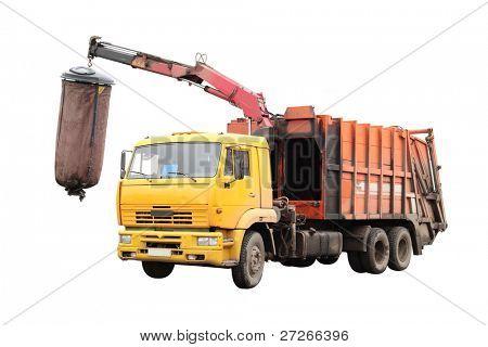 garbage truck under the white background.