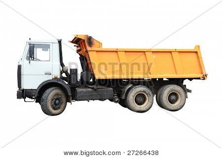 Dump-body truck under the white background