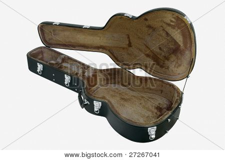 The image of  open guitar  case under the white background