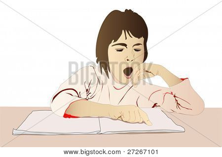 Vector illustration of a girl yawning under the textbook