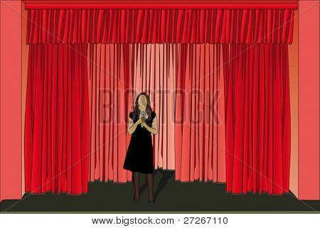 Vector illustration of woman performs on the theater stage
