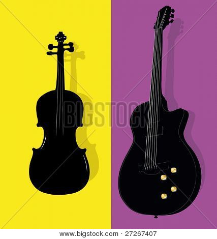 illustration of violin and guitar contours