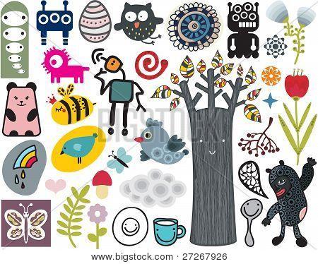 Mix aus verschiedenen Vektor-Bilder und Symbole. BD