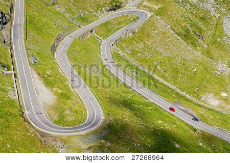 Winding road in Fagaras Mountains, Romania