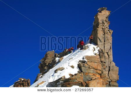 Alpinists on Gran Paradiso Peak, Italy