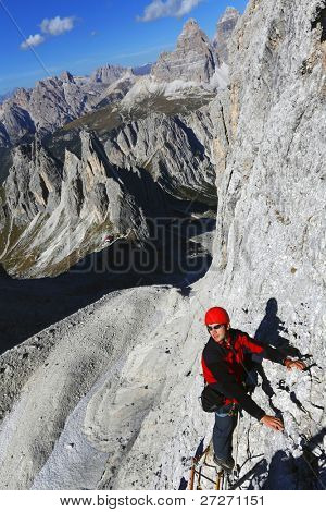 Alpinist in the Dolomites, Italy
