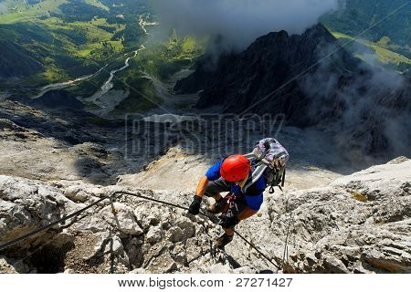 Climbing on Koenigsjodler Ridge, Austrian Alps, Europe