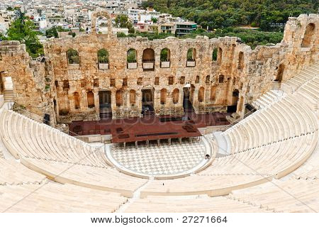 The Odeon of Herodes Atticus , om Acropolis slope, was built it in 161 AD in memory of his wife, Aspasia Annia Regilla