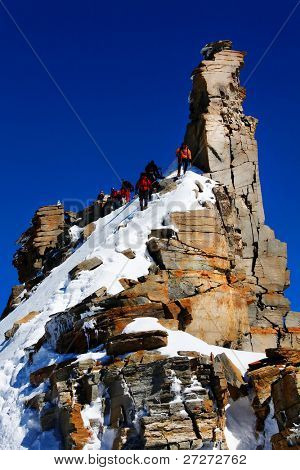 Climbers on Gran Paradiso Peak, Italy