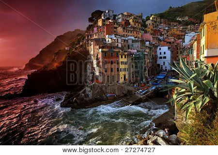 Stormy weather in Riomaggiore Village, Cinque Terre, Italy
