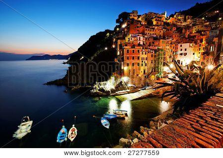 Sunset light in Riomaggiore, Cinque Terre, Italy