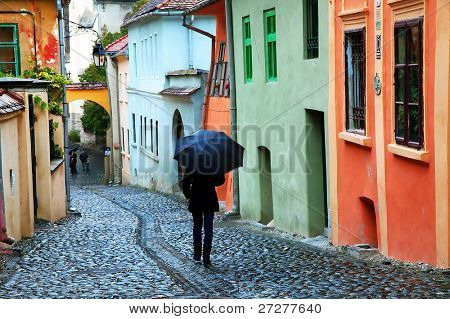 Rainy day in Sighisoara, Transylvania, Romania