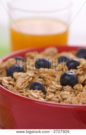 Breakfast Granola, Blueberries And Juice