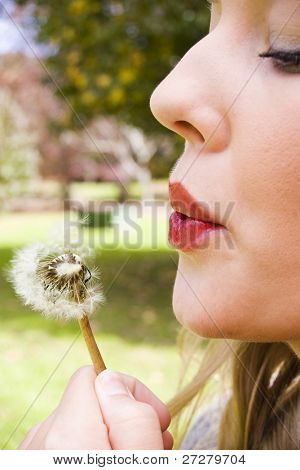 young girl blowing a flower