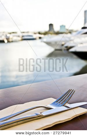 restaurant overlooking the harbor