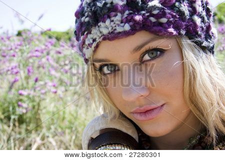 beautiful young girl in a lavender field