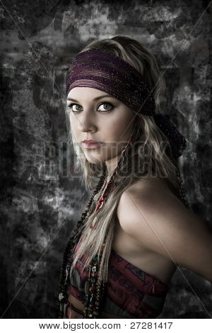 portrait of a beautiful woman against a textured background