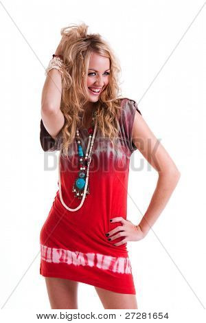 Young attractive woman in a hippie girl outfit.