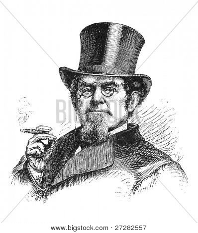 19th century businessman. Engraving from Scribner's magazine may 1872.