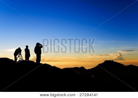 Mountain silhouette of Taiwan, the beautiful outdoor landscape of nature in the morning of sunrise.