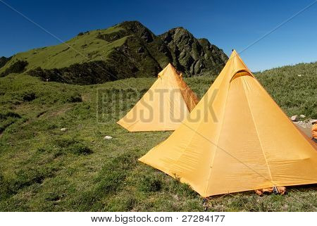 Tents setup on the grassland of hill in outdoor in Taiwan.
