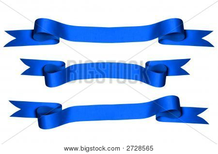 Blue Ribbons With Clipping Paths)