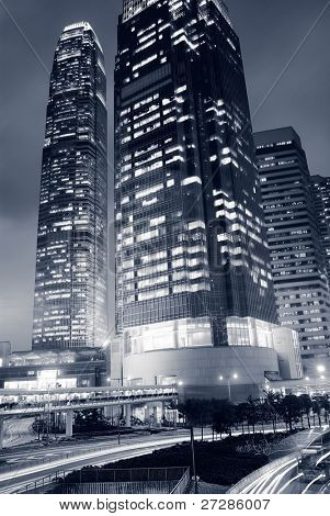 Dramatic buildings stands under the dark sky in Hong Kong of China.
