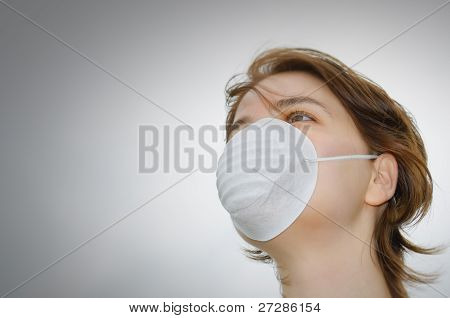 Woman With Medical Mask And Copy Space