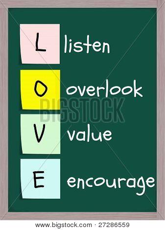 Love Acronym On Blackboard