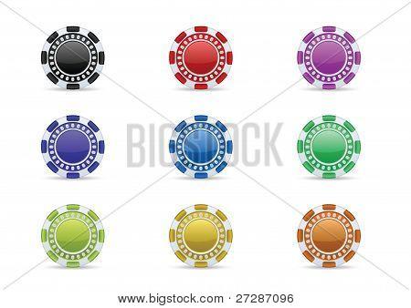 Casino chips icon set