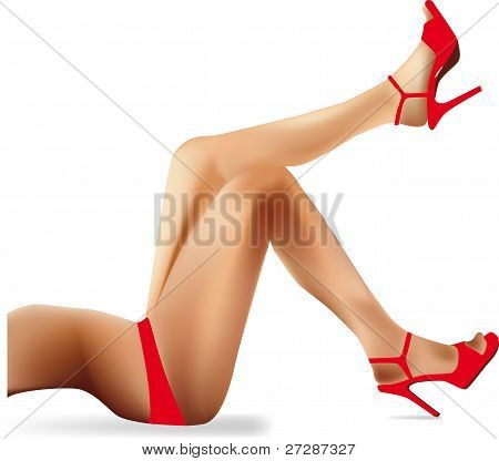 sexy woman legs with red shoes, vector illustration