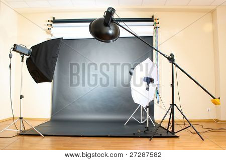 Studio flash on grey background