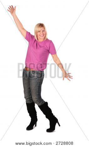 Middleaged Woman In Pink Shirt Stands Dancing 3
