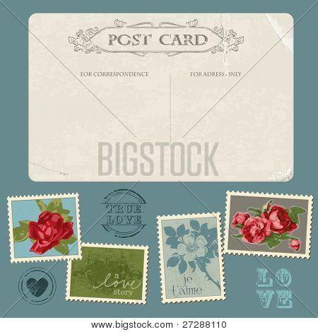 Alte Ansichtskarte mit Blume Briefmarken für die Einladung, Gratulation in Vektor