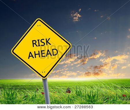 Picture of yellow road sign warning about risk ahead