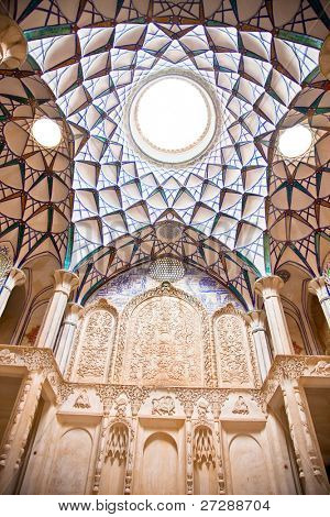 Beautiful decorated Dome of  Historic old house , Kashan, Iran