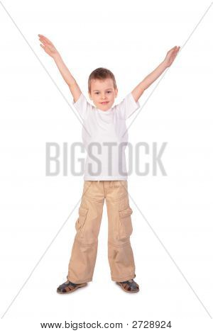 Boy In White Shirt Hand Up
