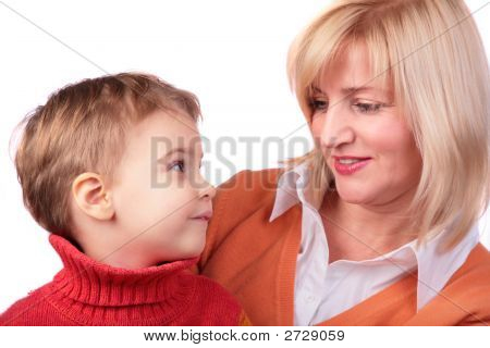 Middleaged Woman With Kid