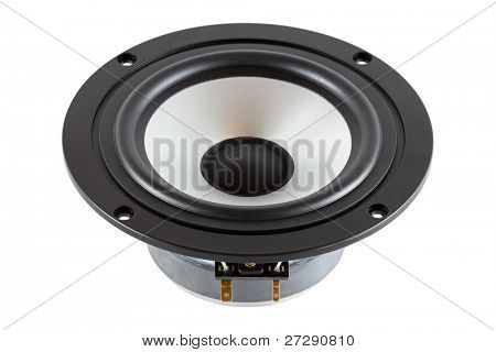 High-End low mid-range driver loudspeaker with aluminum cone isolated on white background