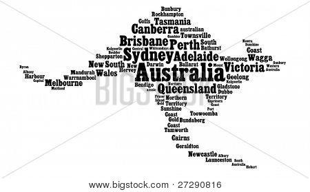 Australia main cities info-text graphics in the shape of kangaroo