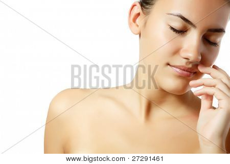 woman beautiful young cheerful enjoying dreaming isolated on white